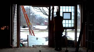 demo framing and installation of a 10 foot sliding glass door