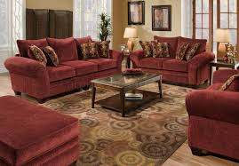 Maroon Living Room Furniture Burgundy Fabric Sofa Loveseat Set W Graphic Throw Pillows