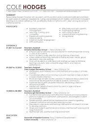 Teaching Objective Resume Objective For Teacher Resume Elementary