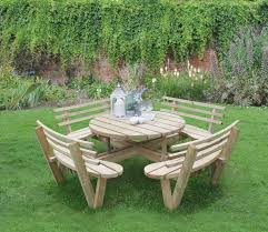 forest circular picnic table with seat backs