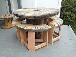 garden furniture made with pallets. Furniture Outdoor Made From Wood Pallets Stunning U Wire Spoolmade Into A Bar Height Patio Garden With