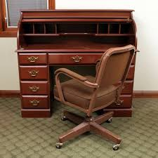 vintage office chair. Brilliant Vintage Cherry Finished RollTop Desk With Vintage Office Chair  On