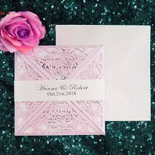 100 Kit Custom Made Flower Pink Invitations For Wedding Cards Design Print Blank Laser Cut Invitation Card White Envelope Seal Lilac Wedding