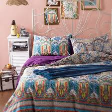 bohemian style red yellow and teal colorful indian native american tribal print full queen size bedding sets