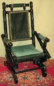 antique platform rocking chair identification doll rocker old green velvet for vintage upholstered ng chai