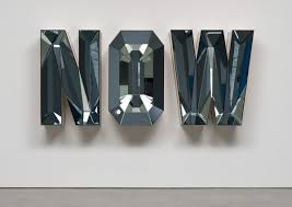 mirror letters. now (blue mirror), 2014; wood, mirror and glass letters