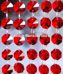 5chains lot red color octagonal glass crystal strands crystal chandelier beads crystal hanging pendants
