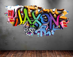 personalized name full color graffiti wall decals cracked 3d wall sticker mural decal graphic wall art bedroom wall stickers wsd153 on graffiti wall art bedroom with graffiti wall decal etsy