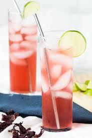 agua de jamaica hibiscus lime cooler