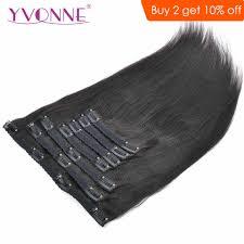 Yvonne Light Yvonne Light Yaki Human Hair Clip In Hair Extensions