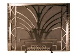 Image Antique Burnished Art Deco Freestanding Fireplace Screen Custom Hand Forged Firescreens For Your Fireplace Ironforgecom Burnished Art Deco Freestanding Fireplace Screen Ironforgecom