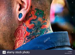 Young Man Male Neck Tat Tattoo Stock Photo 39035158 Alamy