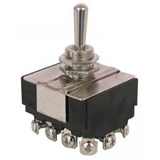 switches toggle all electronics corp p d t center off toggle switch standard 11 16 long bat handle 15 32 threaded bushing mount rated 10a 250vac 15a 125vac screw terminals