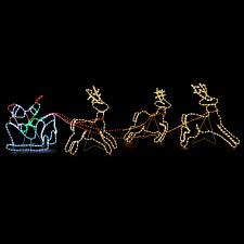 led santa sleigh reindeer silhouette rope light up outdoor wall decoration 3 10m