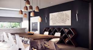 contemporary dining room lighting ideas. briliant idea for contemporary dining room with black wall and woodern rustic hanging lamps lighting ideas