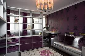 purple modern bedroom designs. Wonderful-tenn-bedroom-with-chandelier-storage-partition-purple-bed-and-silver-sofa-and-flower-rug-pattern | DWEEF.COM - Bright And Attractive Interior Purple Modern Bedroom Designs T