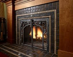 pewabic tile fireplace detail proper cozy fp with beautiful tile iron details woodwork arts and crafts
