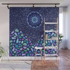 sea glass mountain night mosaic wall