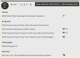 White Burgundy Vintage Chart Wine Lister