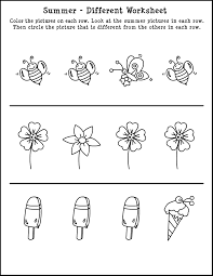 which one is different summer themed skill worksheet summer kids coloring pages