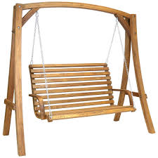 wooden swinging garden bench 2 3 seater