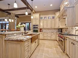 Signature Kitchen Cabinets Traditional Kitchen With Limestone Tile Floors Flat Panel