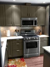 painted cabinets in kitchenKitchen Cabinets Review  Rockford Tea Leaf  0114  CliqStudios