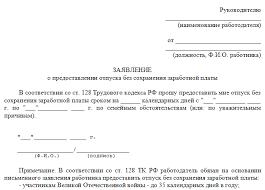 Идем в отпуск без сохранения заработной платы по ТК РФ Народный  образец заявления на отпуск без сохранения заработной платы