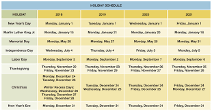 Monday To Friday Schedule Holiday Schedule