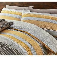 grey geometric striped duvet cover