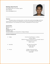 Simple Resume Sample Filipino Gentileforda Com