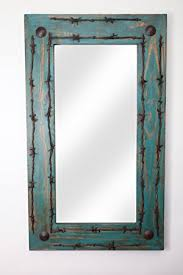 amazon com turquoise old ranch barbed wire rustic mirror home