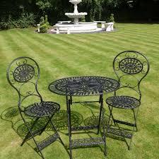 garden furniture. Vintage Style Black Wrought Iron 3 Piece Bistro Garden Furniture Set