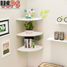 details about 3 tier modern floating corner shelf wall mount display shelves home decoration