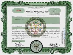medical marijuana inc stock certificate printed on hemp paper