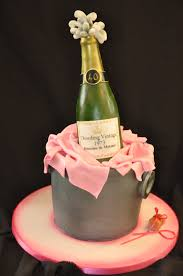 Champagne Bottle Cake Decoration Champagne bottle in a bucket cake All edible From Pink Rose 13
