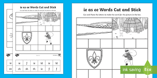 Work on some words that contain the letter i. Ie As Ee Sound Cut And Stick Worksheet Teacher Made