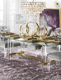 c luxe for less 1 399 d acrylic legs and beveled tempered glass top a savoy dining table