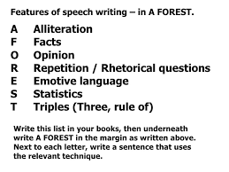 persuasive techniques and aforest an army of hunting dogs 4 features of speech writing