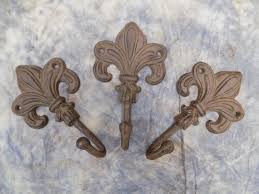Fleur De Lis Coat Rack Enchanting 32 Cast Iron Fleur De Lis Coat Hanger Hooks New Orleans Saints Etsy
