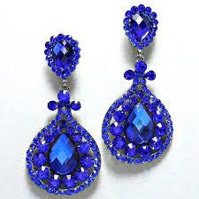 royal blue chandelier earrings post