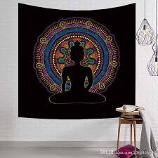 indian buddha statue psychedelic tapestry boho wall hanging mandala moroccan hippie table cloth black beach towel yoga mat blanket buddha statue psychedelic