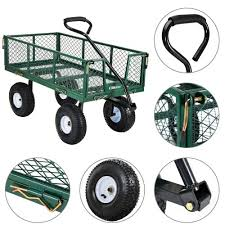 folding garden cart. Ollieroo Utility Wagon Farm And Ranch Heavy-Duty Steel Garden Cart With Removable Folding Sides 10\u201d Pneumatic Tires 660Lb Cax20\u201d Bed Powder Coated Green