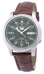 seiko 5 military snk805k2 ss2 automatic brown leather strap men s watch