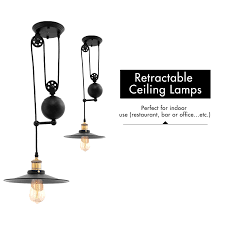 vintage pendant lights edison industrial pulley adjustable wire retractable lamp for
