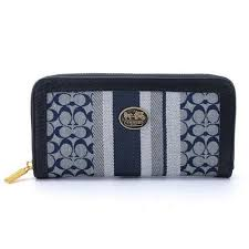 Coach Legacy Accordion Zip In Signature Large Navy Grey Wallets