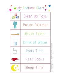Bedtime Chart For Toddlers Give Them Responsibility To Get