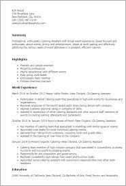 Catering Resume Kordurmoorddinerco Classy Catering Resume
