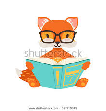 cute orange fox character sitting and reading a book funny cartoon forest posing vector