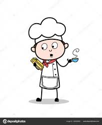 cartoon chef holding a recipe book and drink hot coffee vector ilration stock vector